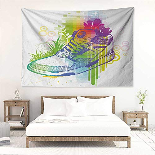 (alisos Colorful,Wall Decor Tapestry Hand Drawn Magic Boot with Flowers Dots Grass Pixels with Digital Effect Print 84W x 70L Inch Tapestry Wallpaper Home Decor Multicolor)