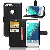 Excelsior Premium Leather Wallet Flip Cover Case For Google Pixel XL (5.5 inch) - Black