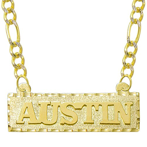 14K Yellow Gold Personalized Name Plate Necklace - Style 1 (20 Inches, White Pave Figaro Chain) 14k Yellow White Gold Nameplates