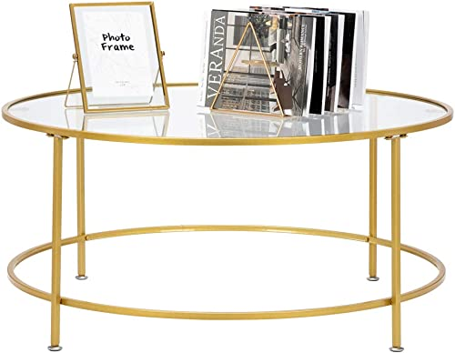 SSLine Round Coffee Table with Tempered Top,36 5mm Thick Modern Center Table with Black Metal Frame,Sofa Side Tea Table Home Furniture for Living Room Home and Office,Gold