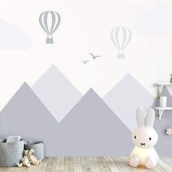 Wandaufkleber Berge Und Luftballons Grau Wandtattoo Fur Das Babyzimmer Amazon De Baumarkt
