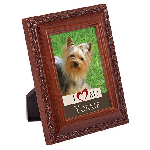 Cottage Garden I Love My Yorkie Woodgrain Rope Trim Tiny Frame with Magnet and Easel