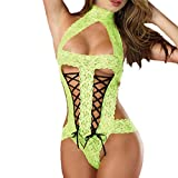 Napoo Fashion Women Bowknot Lace Floral Bandage Temptation Underwear (Green)