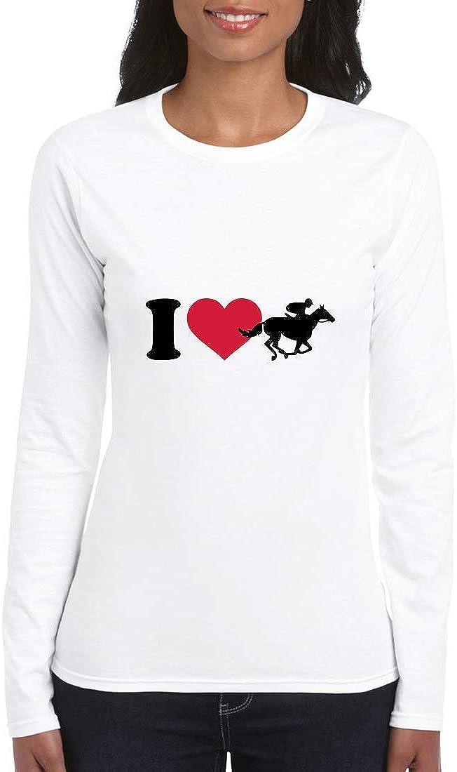 Druckerlebnis24 - Camiseta de Manga Larga para Mujer (Manga Larga), diseño de Caballos