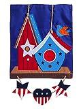 Cheap Evergreen Rustic Patriotic Birdhouse Applique Garden Flag, 12.5 x 18 inches