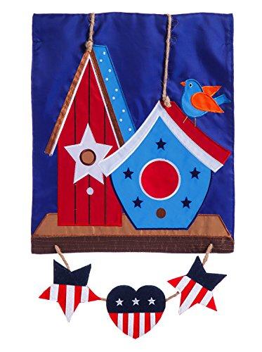 Evergreen Rustic Patriotic Birdhouse Applique Garden Flag, 12.5 x 18 (Evergreen Enterprises Birdhouse)