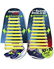 DIAGONAL ONE No Tie Shoelaces for Kids and Adults. Elastic Silicone Shoe Laces to Replace Your Shoe Strings. 20 Slip On Tieless Flat Silicon Sneakers Laces