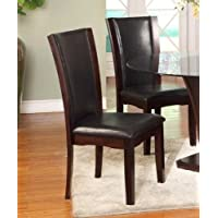 Roundhill Furniture Kecco Espresso Solid Wood Dining Chairs, Set of 2