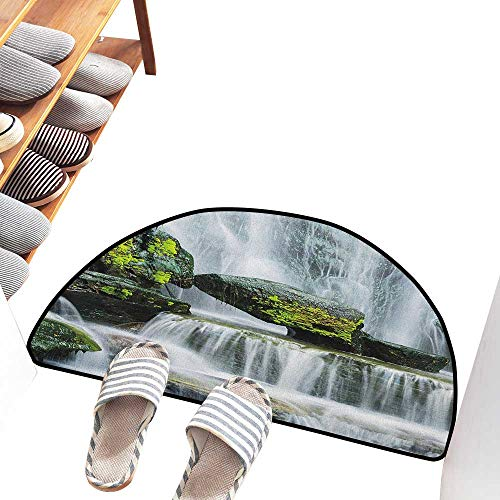 Axbkl Entrance Door mat Waterfall Majestic Waterfall Blocked with Massive Rocks with Moss on Them Photo Suitable for Outdoor and Indoor use W30 xL18 Green Black and White