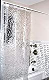 """COS Very Nice Vinyl Embossed Circles Shower Curtain with 12 Hooks, 72 by 72"""", Clear"""