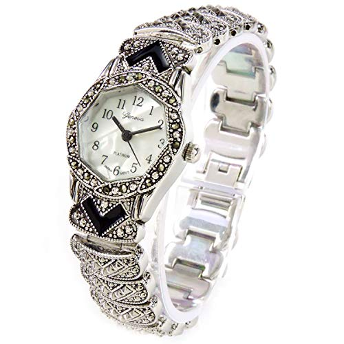 STC Women's Marcasite Silver Black Vintage Style Stainless Steel Bracelet Watch for Women (Marcasite Bracelet Watch)