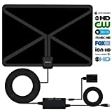 HotCat HDTV Antenna 120+ Miles Long Range Indoor Digital HDTV Antenna with 2019 Newest Type Switch Console Amplifier Signal Booster,USB Power Supply and 17 Feet Highest Performance Coaxial Cable-Black