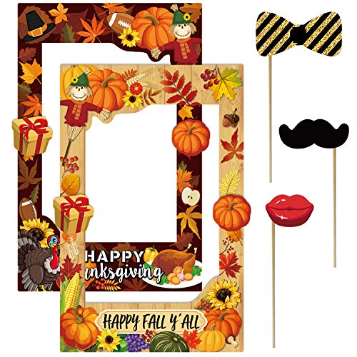2 in 1 Thanksgiving Photo Booth Props Frame Party decorations Happy F'all Year Selfie Photo Booth Picture Frame and Props for Thanksgiving party supplies (1 2 Photo In Frame)