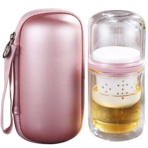 WINGOFFLY Portable All-in-One Travel Double Wall Glass Tea Cup Set with Infuser and Carrying Case Bag for Outdoors Picnic(Pink)