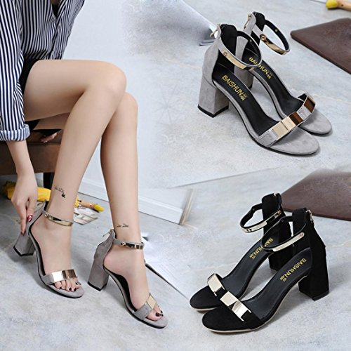 Transer® Ladies Thick Heel Sandals- Women Summer Gladiator Sandals Open Toe Shoes Fashion Gray t5qtpOTG