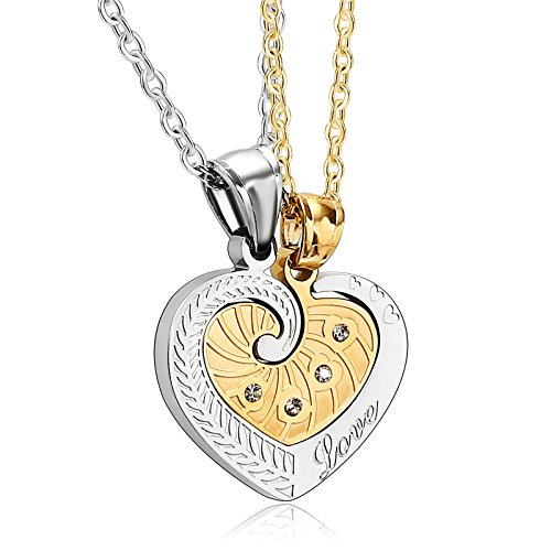 His and Hers Stainless Steel Pendant Necklace 2PCS CZ Heart Gold Silver Wedding Necklaces by Adisaer