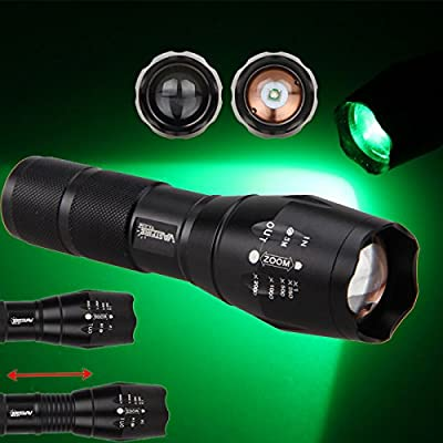 VastFire 350 yard Zoomable Adjustable Focus Green Q5 LED Tactical Hunting Flashlight Torch Coyote Hog Pig Varmint Predator Light With Remote Pressure Switch & Scope, Rail or Barrel Rifle Mount