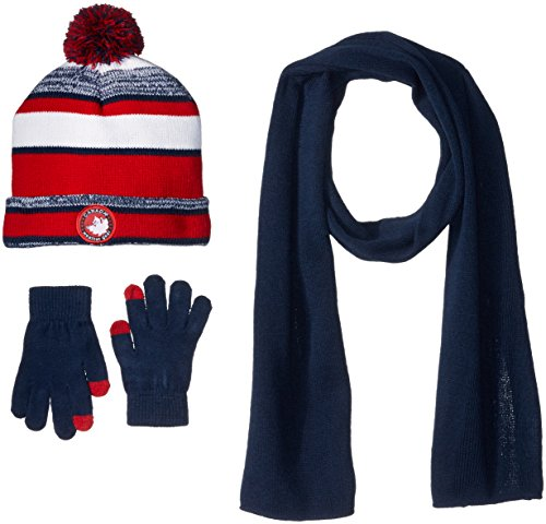 Canada Weather Gear Men's Marled Stripe Beanie with Tech Touch Glove and Matching Scarf, Navy, One Size (Hat Men Canada compare prices)