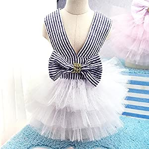 STAR-TOP Dog Camisole Tutu Dress,Fashion Pretty Summer Sweet Puppy Dog Pet Dress Skirt Dogs Princess Dresses Pet Coat Apparel Costume (XL, Blue)