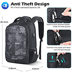 Travel Backpack 17Inch Business Bags for Laptop Anti Theft Bookbag Camouflage