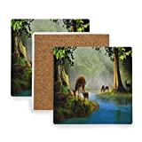A Group Of Sika Deer By The Lake Coasters, Protect Your Furniture from Stains,Coffee, Cork Coasters Funny Housewarming Gift,Square Cup Mat Pad for Home, Kitchen or Bar Set of 4