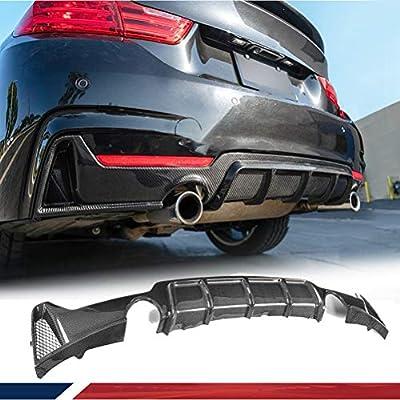 jcsportline Carbon Fiber Rear Diffuser for BMW 4 Series F32 F33 F36 435i 420i 440i M-Sport 2-Door 2013-2017 Single Exhaust Twin Outlet