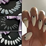 Brriiss 19 Artificial Sharp Nail Art Full Cover Oval Stiletto False Fake Nails Tips