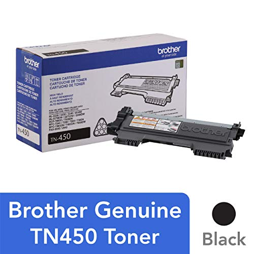 Brother Genuine High Yield Toner Cartridge, TN450, Replacement Black Toner, Page Yield Up To 2,600 -