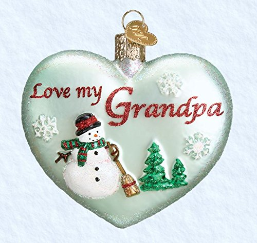 Old World Christmas Ornaments: Grandpa Heart Glass Blown Ornaments for Christmas Tree