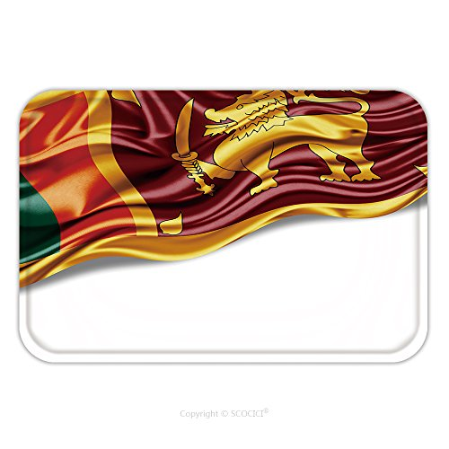Sri Lanka Buddhist Flag (Flannel Microfiber Non-slip Rubber Backing Soft Absorbent Doormat Mat Rug Carpet Sri Lanka Flag Of Silk With Copyspace For Your Text Or Images And White Background 344239472 for Indoor/Outdoor/Bathroo)