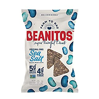 Beanitos Black Bean Chips with Sea Salt, The Healthy, High Protein, Gluten free, and Low Carb Vegan Tortilla Chip Snack, A Lean Bean Protein Machine for Superfood Snacking At Its Best, 5 Ounce