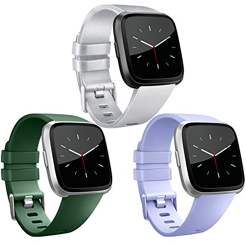 Vancle Band Compatible with Fitbit Versa Bands 3 Pack, Classic Accessories Replacement Wristbands for Fitbit Versa Smartwatch (Silver, Dark Green, Periwinkle, Small)