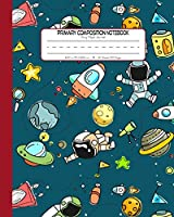 Primary Composition Notebook Story Paper Journal: Dashed Midline And Picture Space School Exercise Book | 120 Story Pages | Red - Astronaut (Outer Space Astronomy Series)