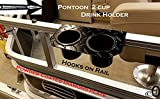 J & O Carts Parts Pontoon-Boat-Powder-Coated-Diamond-Plate-2-Cup-Drink-Holder-Fits-1-1-4-Rail