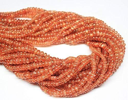 Beads Bazar Natural Beautiful jewellery 5 Strand Lot Natural Orange Sunstone Smooth Rondelle Micro Gemstone Craft Loose Beads 14
