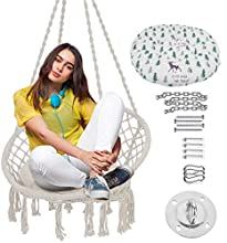 TINTONLIFE Hammock Chair Macrame Swing with Cushion & Durable Hanging Hardware Kit,Max 330 Lbs-Indoor Macrame Swing Chairs 100% Cotton Rope for Bedroom &Outdoor ,Gift for Birthday & Christmas(White)