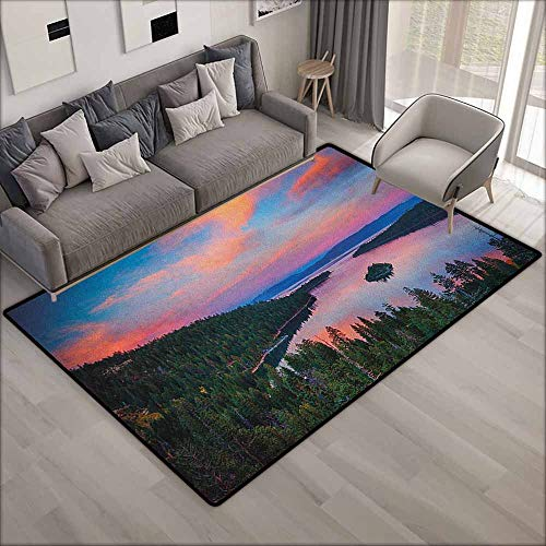 (Skid-Resistant Rug,Lake Tahoe California Photography Rustic Themes Sundown Time Freshwater Sierra Nevada Lake,Children Crawling Bedroom Rug,3'11
