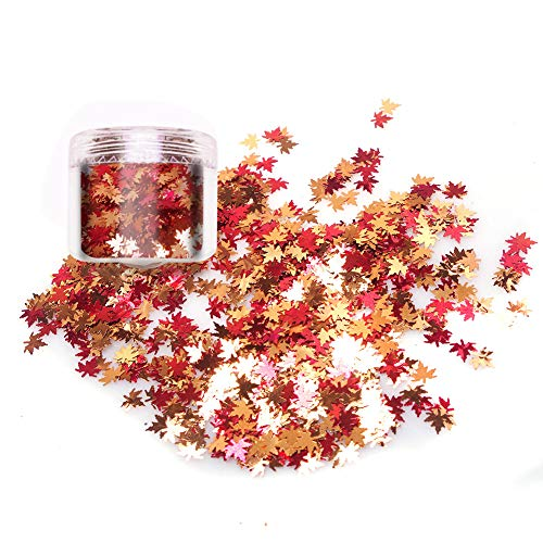 Laza 10gram Chunky Glitter Autumn Leaves Nail Art Sequin Flake Metallic Leaf Shaped Red Yellow Orange Mixed DIY Design Spangles Confetti Solvent Resistant for Decoration Festival - Maple