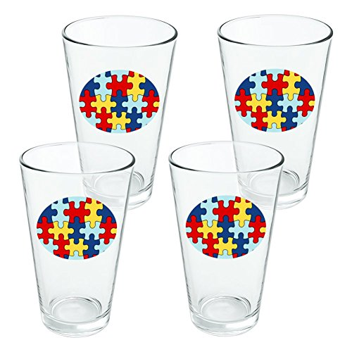 Autism Awareness Diversity Puzzle Pieces Novelty 16oz Pint Drinking Glass Tempered - Set of 4 ()