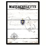 Massachusetts State Vintage Flag Canvas Print Black Picture Frame Gift Ideas Home Decor Wall Art Decoration Gift Ideas