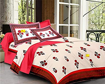 8f2618b7a72f FAB NATION Printed Cotton Double Bedsheet (Queen size, White, Brown, Bright  Red, Multicolor) with Zip Pillow Covers and Folded Seams: Amazon.in: Home &  ...