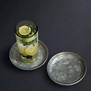 NIRMAN Galvanized Coasters for Drinks   Drink Coaster  Housewarming Gifts for Home   Coaster for Home and Kitchen  Set of 6 Coaster  Drink Bar Cup Table Coasters  Home Décor Gift