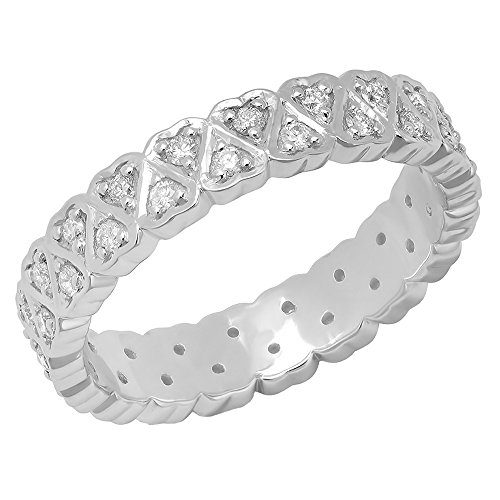 0.50 Carat (ctw) 10K White Gold Round White Diamond Heart Shape Eternity Band 1/2 CT (Size 7) by DazzlingRock Collection