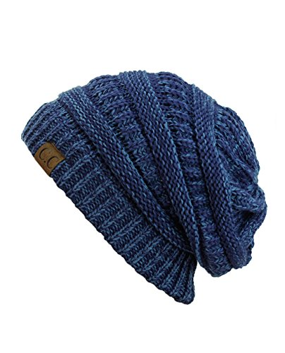 C.C Trendy Warm Chunky Soft Stretch Cable Knit Beanie Skully, Blue/Denim