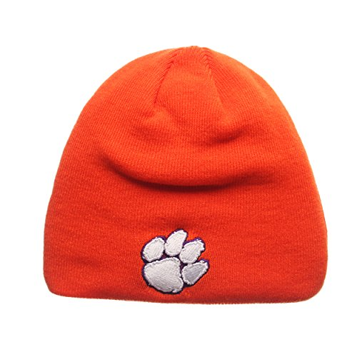 ZHATS Clemson Tigers Orange Edge Skull Cap - NCAA Cuffless Winter Knit Beanie Toque Hat