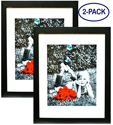 11x14 Inch Picture Frame Black (2-pack) - GLASS FRONT COVER - Displays an 11 by 14