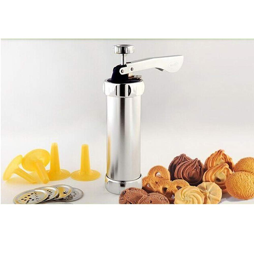Stainless Steel Cookie Press Kit - Biscuit Gun Set with 20Pcs Cookie Disc Shapes and 4Pcs Decorating Tips by Sindh (Image #3)