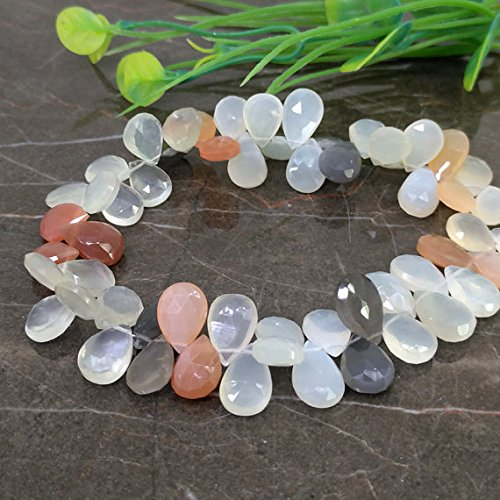 1 strand Natural Multi Moonstone 11-13mm Faceted Pear Briolette Beads / Approx 55 pieces on 9 Inch long strand Christmas Sale.
