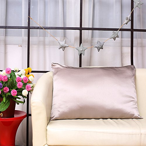 S·789 Chameuse Silk Pillowcase with Hidden Zipper Window,Luxury Satin Silk Pillow Sham,Both Sides 19 Momme Silk,20x36 Inches,Silver Grey Color Oganic Pillowcase with Gift Package by S·789 (Image #2)