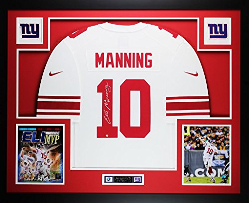 Eli Manning Autographed White Nike Giants Jersey - Beautifully Matted and Framed - Hand Signed By Eli Manning and Certified Authentic by Auto Steiner COA - Includes Certificate of ()